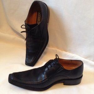 Cestino Black Leather Men's Lace up shoes